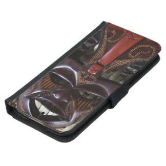 Ritual African Tribal Wooden Carved Mask Brown Red Samsung Galaxy S5 Wallet Case