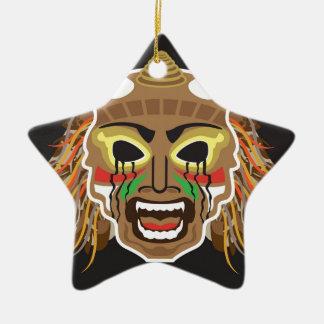 Ritualistic Tribal Mask Vector Ceramic Star Ornament