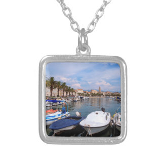 Riva waterfron, Split, Croatia Silver Plated Necklace