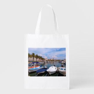 Riva waterfront, Split, Croatia Reusable Grocery Bag