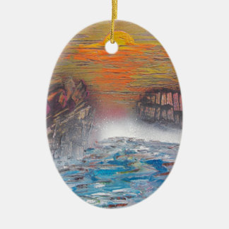 River above the falls ceramic ornament