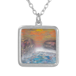 River above the falls silver plated necklace