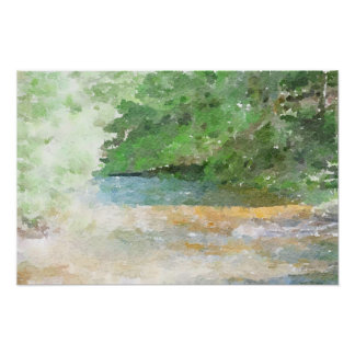 River and Forest Abstract Watercolor Painting Poster