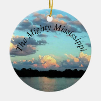 River at Sunset Mississippi River Ceramic Ornament