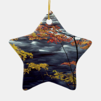 River Autumn Colors A Rushing Ceramic Star Ornament