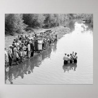 River Baptism, 1940. Vintage Photo Poster