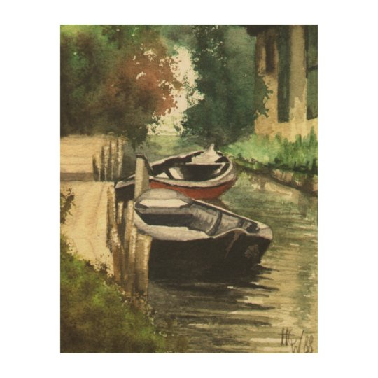 River Boats in Brandenburg Wood Print