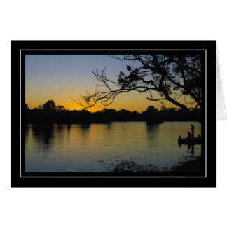 River Dock Sunset Note Card