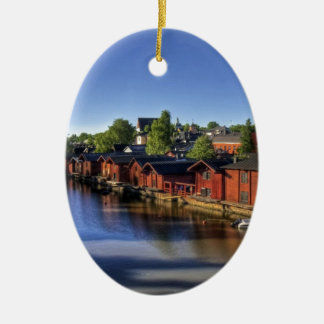 River & Fish Barns, Finland Ceramic Ornament