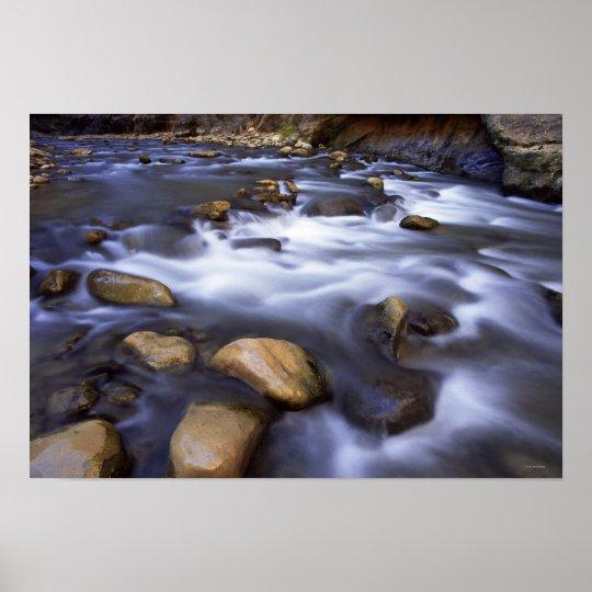 River flowing over rocks, Virgin River, Utah Poster