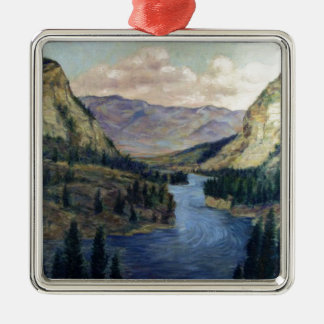 River Flows On Metal Ornament