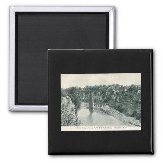 River Gorge Bridge, Rochester NY Vintage Square Magnet