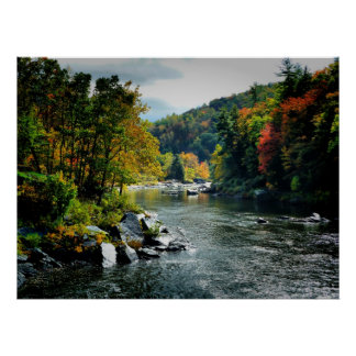 River in Fall - Ohiopyle, PA Poster