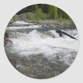 River in the Rocky Mountains Classic Round Sticker