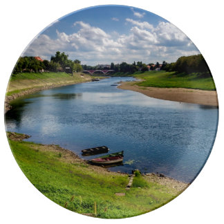 River Kupa in Sisak, Croatia Plate