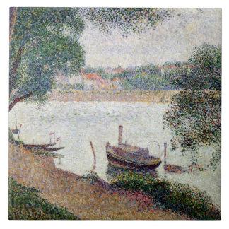 River Landscape with a boat Ceramic Tiles