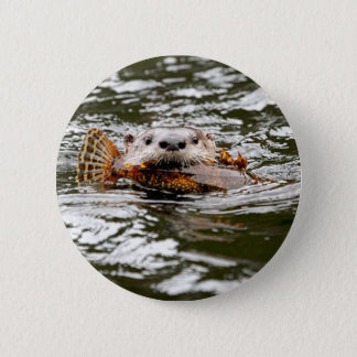 River Otter and Fish 2 Inch Round Button