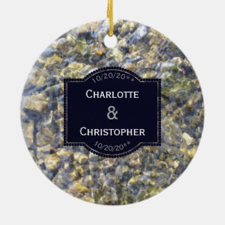 River Pebbles And Water Personalized Wedding Ceramic Ornament