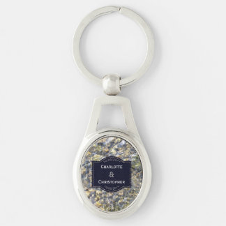 River Pebbles And Water Personalized Wedding Keychain