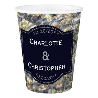 River Pebbles And Water Personalized Wedding Paper Cup