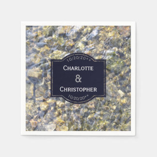 River Pebbles And Water Personalized Wedding Paper Napkin