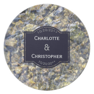 River Pebbles And Water Personalized Wedding Plate