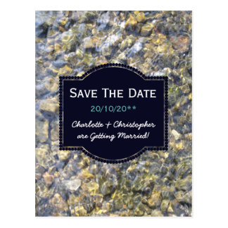 River Pebbles And Water Personalized Wedding Postcard