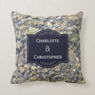 River Pebbles And Water Personalized Wedding Throw Pillow
