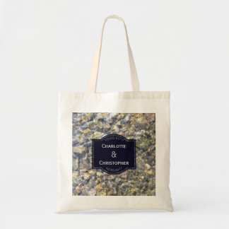 River Pebbles And Water Personalized Wedding Tote Bag