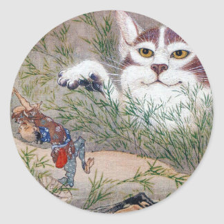 River pot dawn 斎, monster cat classic round sticker