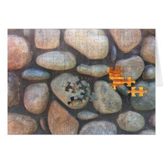 River Rock Wall Close-Up Photograph Card