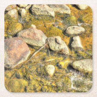River Rocks Square Paper Coaster