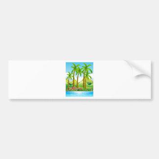 River scene with coconut trees bumper sticker