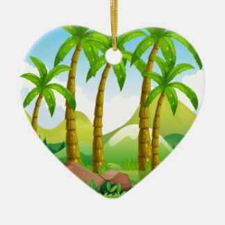 River scene with coconut trees ceramic heart ornament