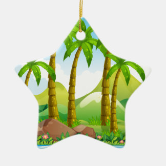 River scene with coconut trees ceramic star ornament