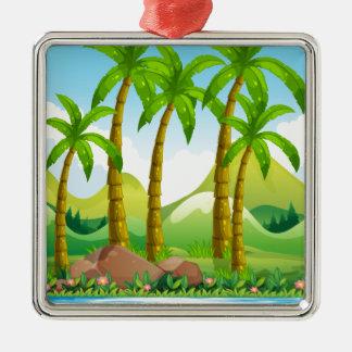 River scene with coconut trees Silver-Colored square ornament