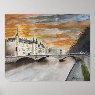 RIVER SEINE,  PARIS,   WATERCOLOR POSTER