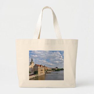 River side of Prague, Republic Czech, Large Tote Bag