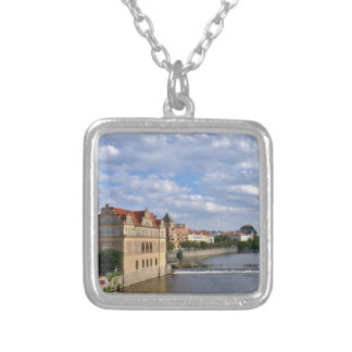 River side of Prague, Republic Czech, Silver Plated Necklace