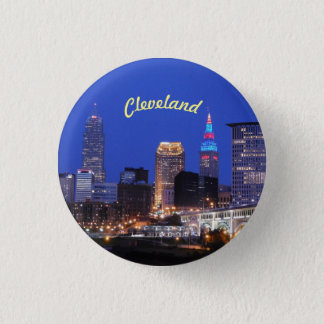 River Skyline Cleveland OH Button
