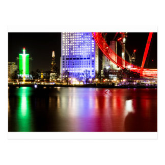 River Thames in Colour at night Postcard