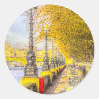 River Thames Path Art Classic Round Sticker