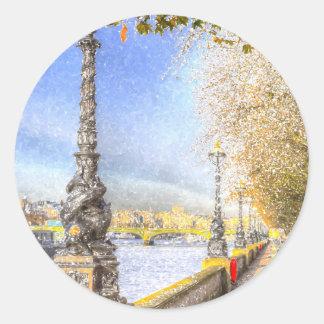 River Thames Path Snow Art Classic Round Sticker