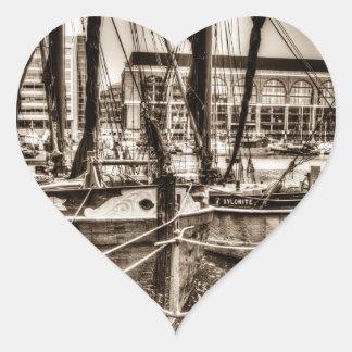 River Thames Sailing Barges Heart Sticker