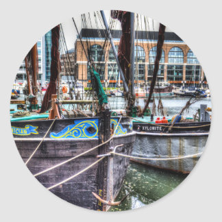 River Thames Sailing Barges Round Sticker
