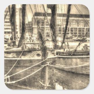 River Thames Sailing Barges Square Sticker