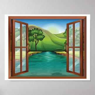 River Through An Open Window Poster