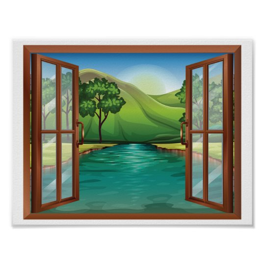 River Through An Open Window Poster