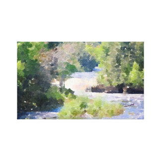 River Through Forest Abstract Watercolor Part 2 Canvas Print