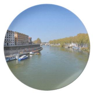 River Tiber in Rome, Italy Plate